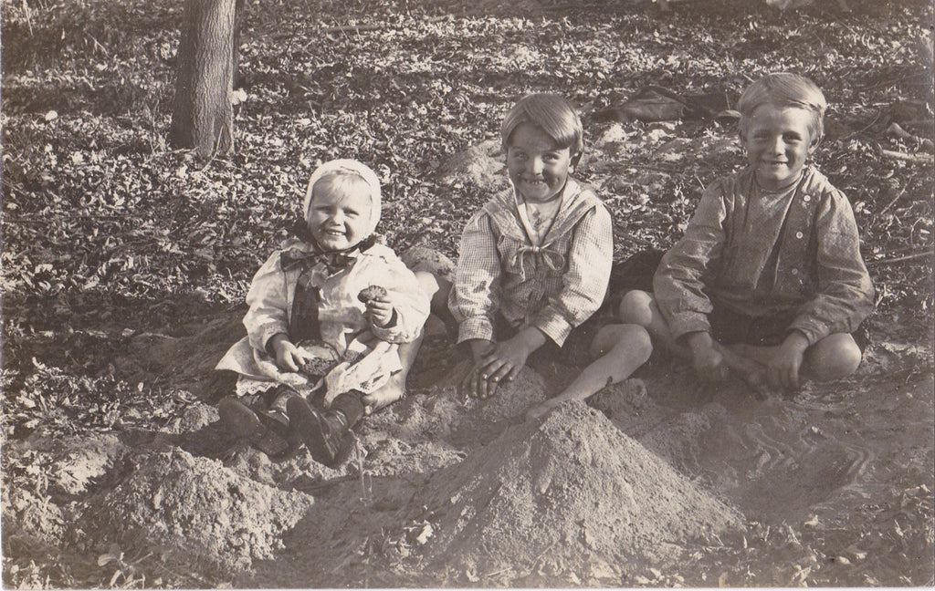 Sandpile Playmates- 1900s Antique Photograph- Edwardian Children Playing in Sand- Smiling Boys- Real Photo Postcard- Cyko RPPC