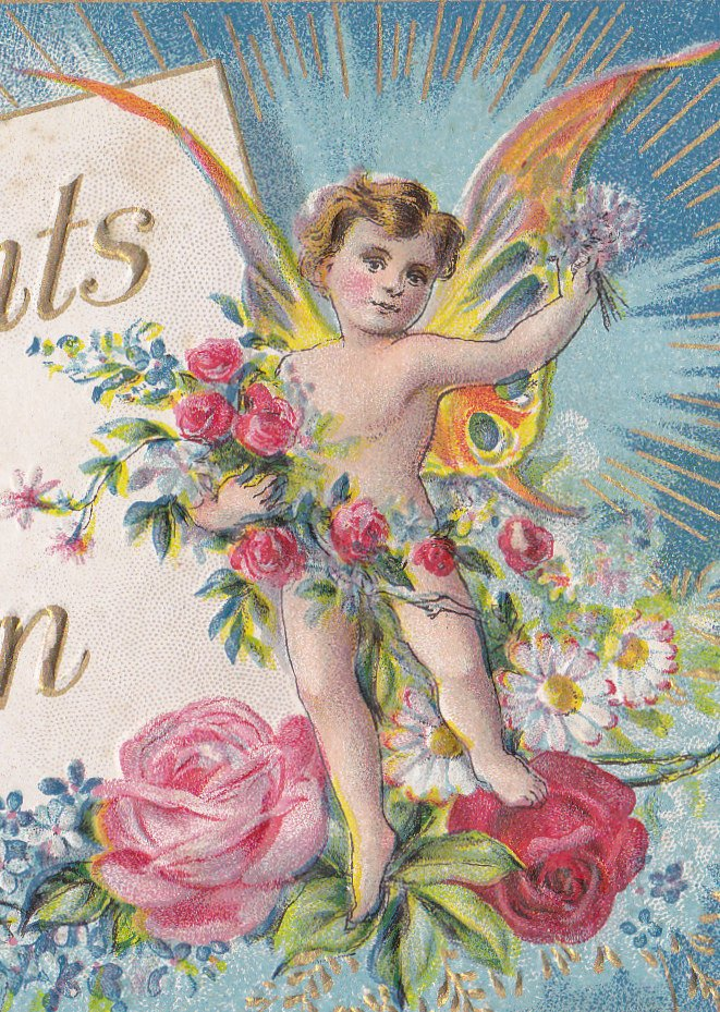 Compliments of the Season- 1910s Antique Postcard- Butterfly Winged Fairy- Edwardian Fantasy- Art Card- Paper Ephemera-  Used