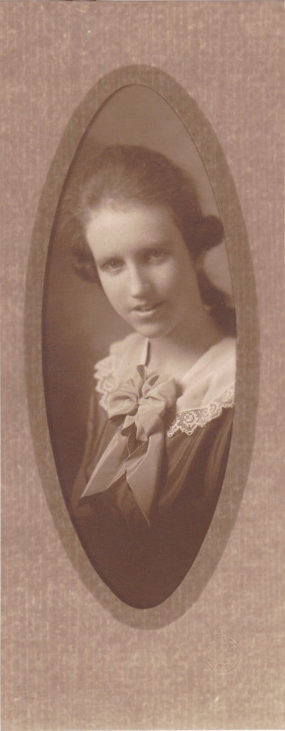 Tender Heart- 1920s Antique Photograph- Beautiful Young Woman- Barber Studio, Denver- Soft Focus- Sepia Portrait- Photo