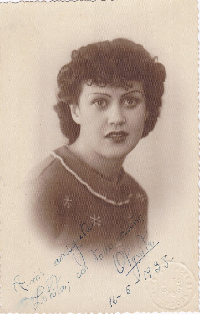 To My Girlfriend Lolita- 1930s Vintage Photograph- Spanish Beauty- Cordoba, Spain- Real Photo Postcard- RPPC Portrait