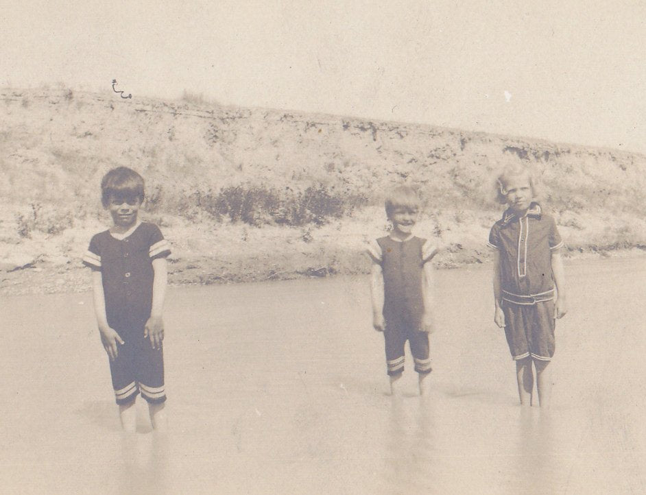 Water You Wading For- 1910s Antique Photograph- Children in Swimsuits Ankle Deep in Stream- Real Photo Postcard- RPPC