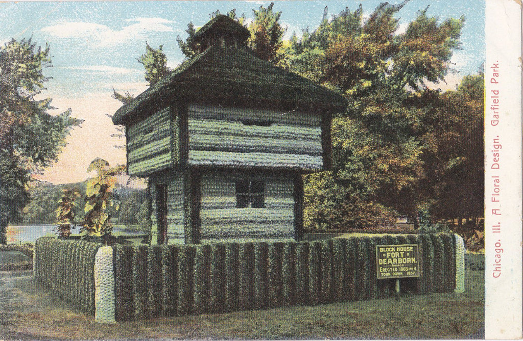Block House of Fort Dearborn- 1900s Antique Postcard- A Floral Design- Garfield Park- Chicago, Illinois- P. Schmidt- Unused