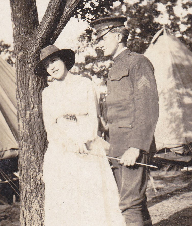 To Have and To Hold-  1910s Antique Photograph- Wartime Romance- WWI Soldier and Sweetheart- Real Photo Postcard- Cyko RPPC