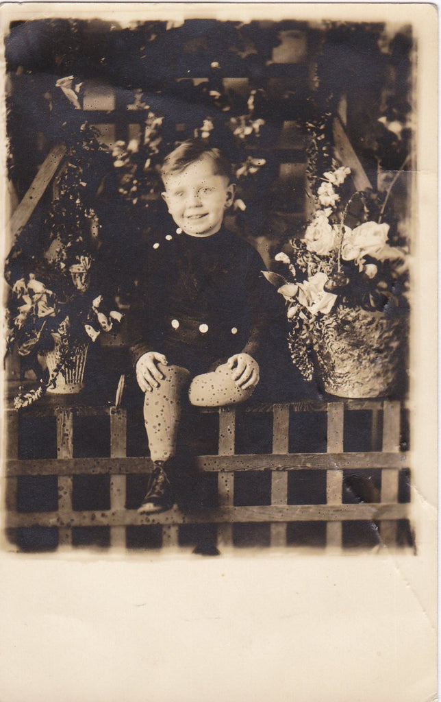 A Curious Condition- 1910s Antique Photograph- Accidental Chicken Pox- Measles- Little Boy with Spots- Real Photo Postcard- RPPC