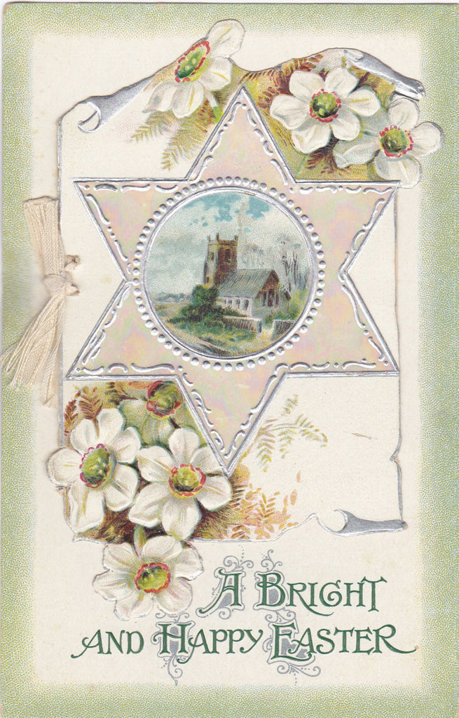 A Bright And Happy Easter- 1900s Antique Postcard- Edwardian Easter- B B London- Six Pointed Star- Beautiful Card- Embossed- Unused
