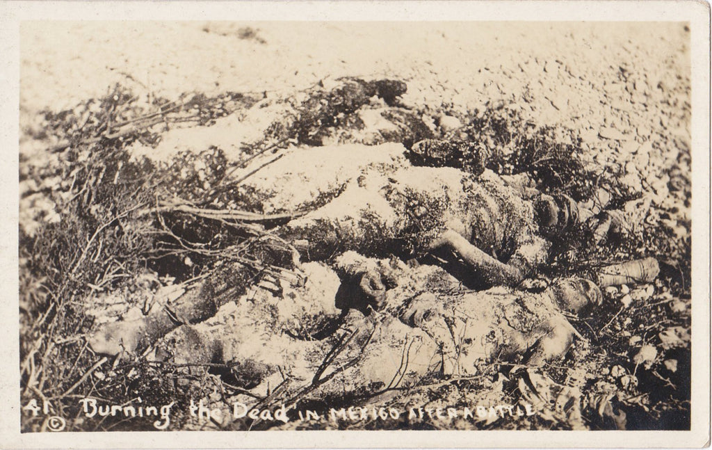 Burning The Dead in Mexico- 1910s Antique Photograph- Mexican Revolution- War Casualties- Real Photo Postcard- AZO RPPC- Eyewitness History