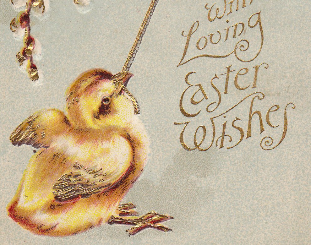 With Loving Easter Wishes- 1900s Antique Postcard- Yellow Chick Ringing Golden Bell- Edwardian Easter- Embossed- Used