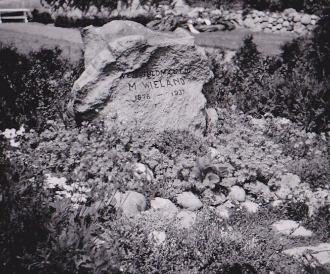 Stone Grave Marker- 1930s Vintage Photograph- M. Wieland- Cemetery Snapshot- Graveyard Photo