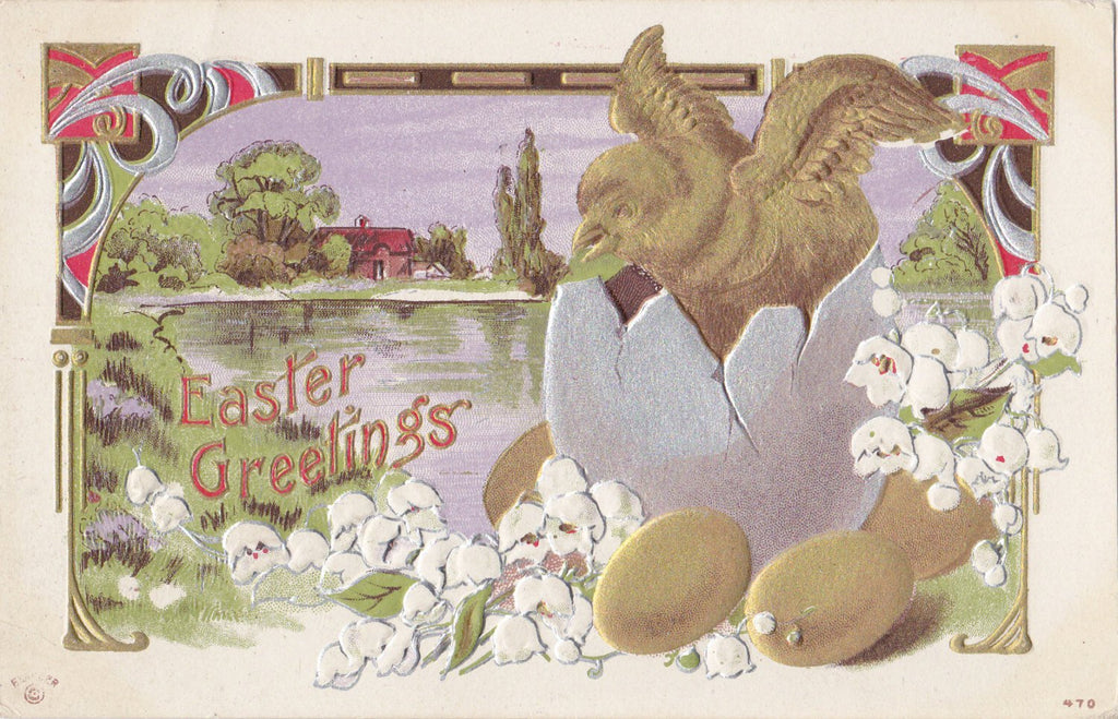 Metallic Easter Greetings- 1910s Antique Postcard- Gold, Silver, Bronze- Hatching Chick- Art Nouveau- Edwardian Easter- Embossed- Used