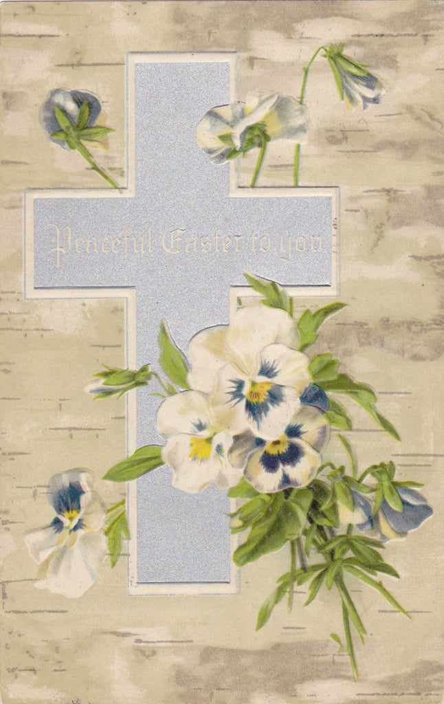 Peaceful Easter To You- 1900s Antique Postcard- Pansy Flowers- Birch Tree Bark- Edwardian Springtime- Art Card- Embossed- Used