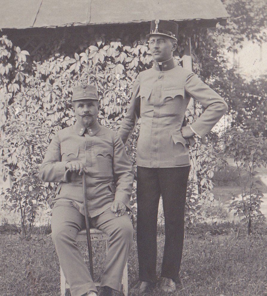 Austro-Hungarian Army- 1910s Antique Photograph- WWI Soldiers- Waxed Mustache- War Portrait- Real Photo Postcard- RPPC