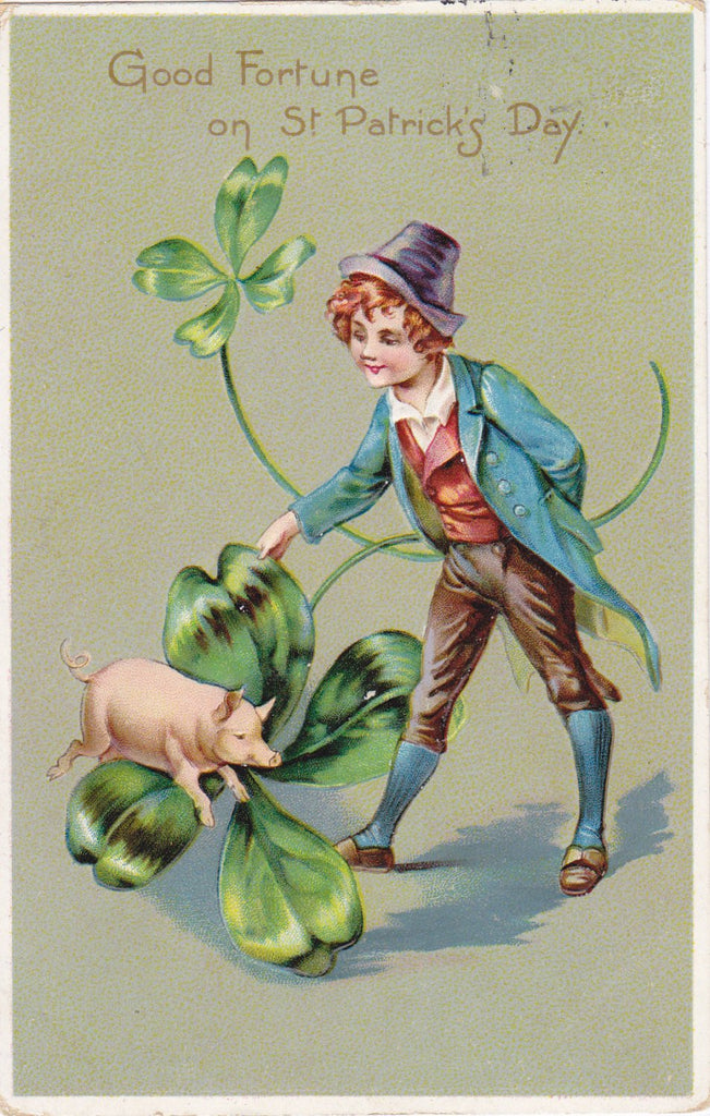 Good Fortune on St. Patrick's Day- 1910s Antique Postcard- Irish Lad- Lucky Pig- Four-Leaf Clover- Raphael Tuck & Sons- Art Card- Used