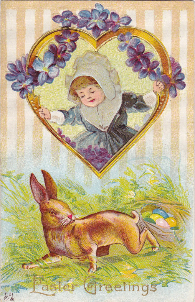 Easter Rabbit's Nest- 1900s Antique Postcard- Art Card- Bunny Eggs- Springtime- Edwardian Violets- Pilgrim Girl- Embossed- Used
