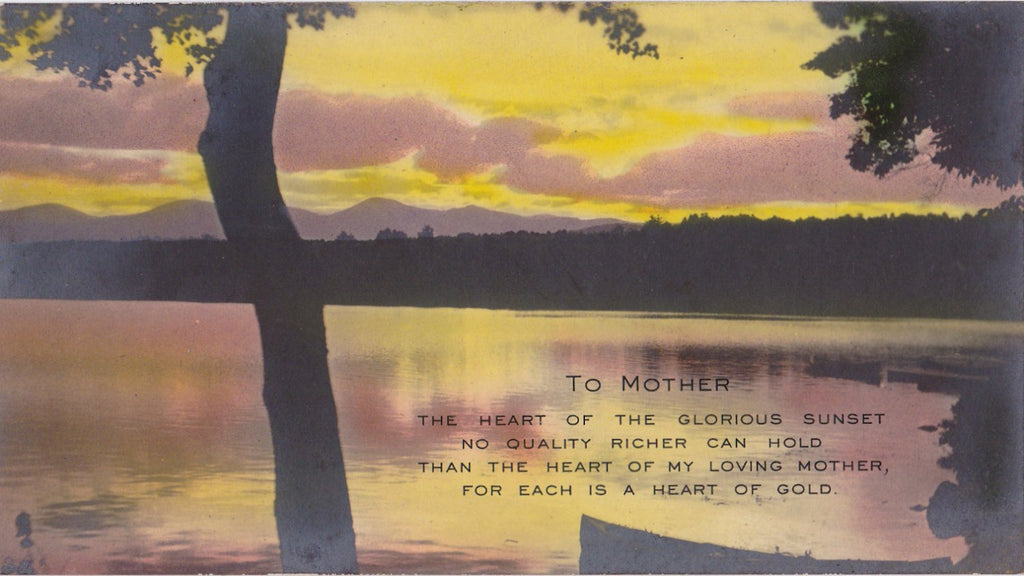 To My Loving Mother- 1920s Antique Photograph- Mother's Day- Heart of Gold- Photo Card- Sunset Lake- Hand Tinted RPPC