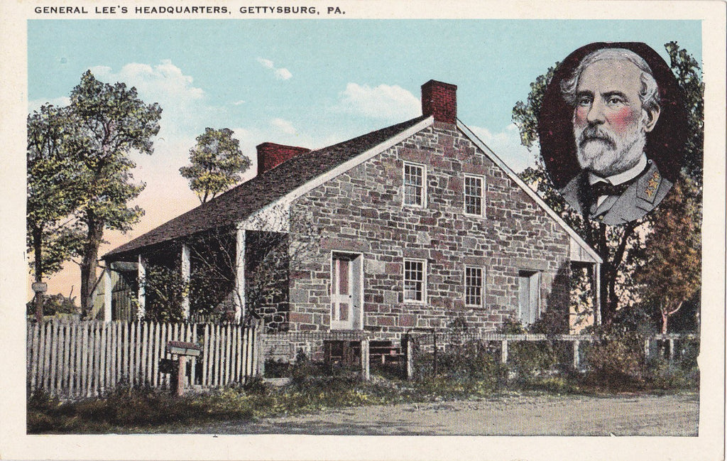 General Lee's Headquarters- 1920s Antique Postcard- Gettysburg, Pennsylvania-  Old Souvenir View- Historical Landmark- Kaufman