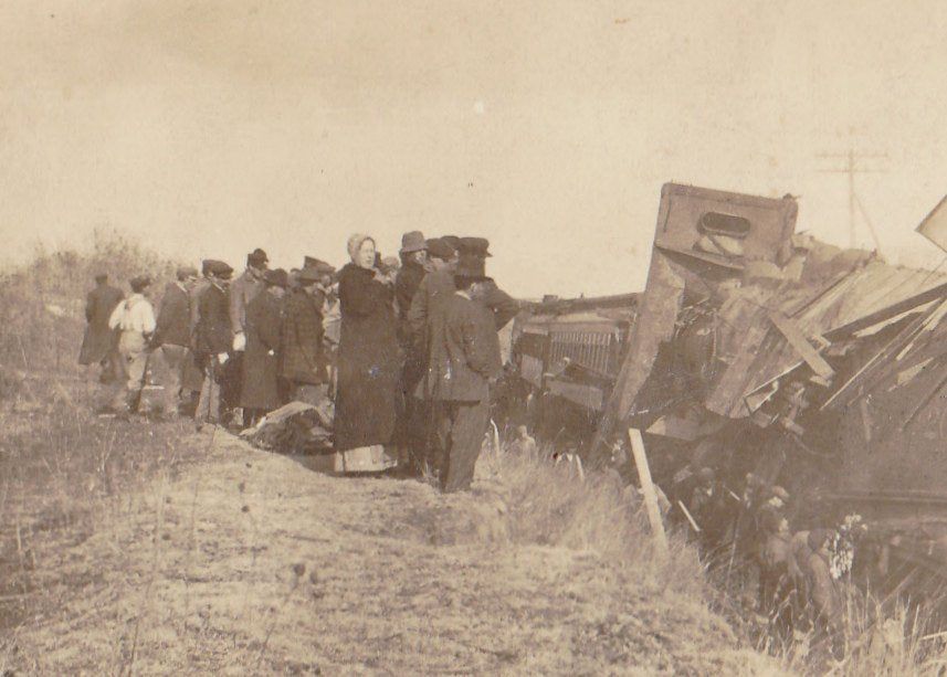Train Wreck- 1910s Antique Photograph- Real Photo Postcard- Accident- Locomotive Collision- Disaster Eyewitness- AZO RPPC