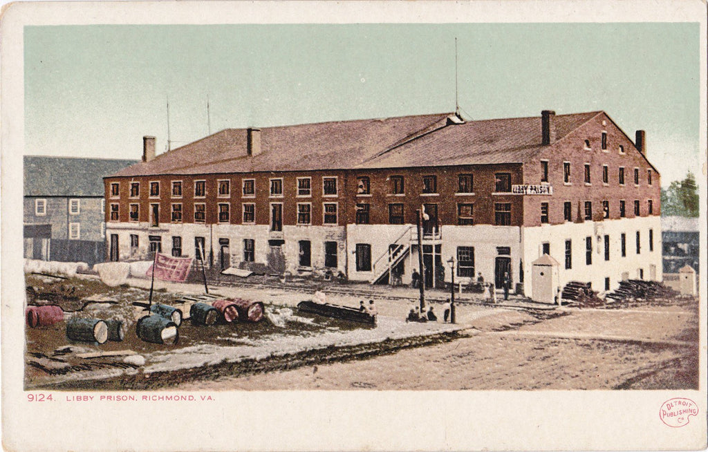 Libby Prison- 1900s Antique Postcard- Richmond, Virginia- Historical Jail- Landmark Building- Detroit Publishing Co- Unused