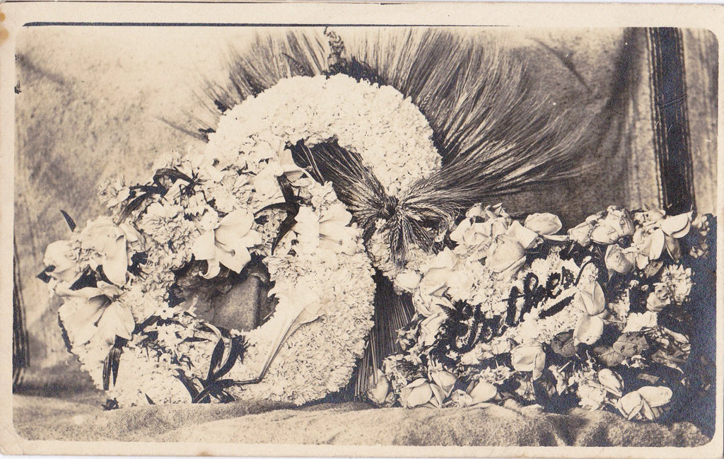 Edwardian Mourning- Funeral Flowers- Real Photo Postcard- 1900s Antique Photograph- Father- AZO RPPC- Sheaf of Wheat