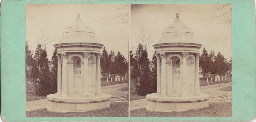 Greenwood Cemetery- 1800s Antique Stereo Photo- Brooklyn, New York- Graveyard Memorial- Cremer's Stereoscopic Emporium- Paper Ephemera