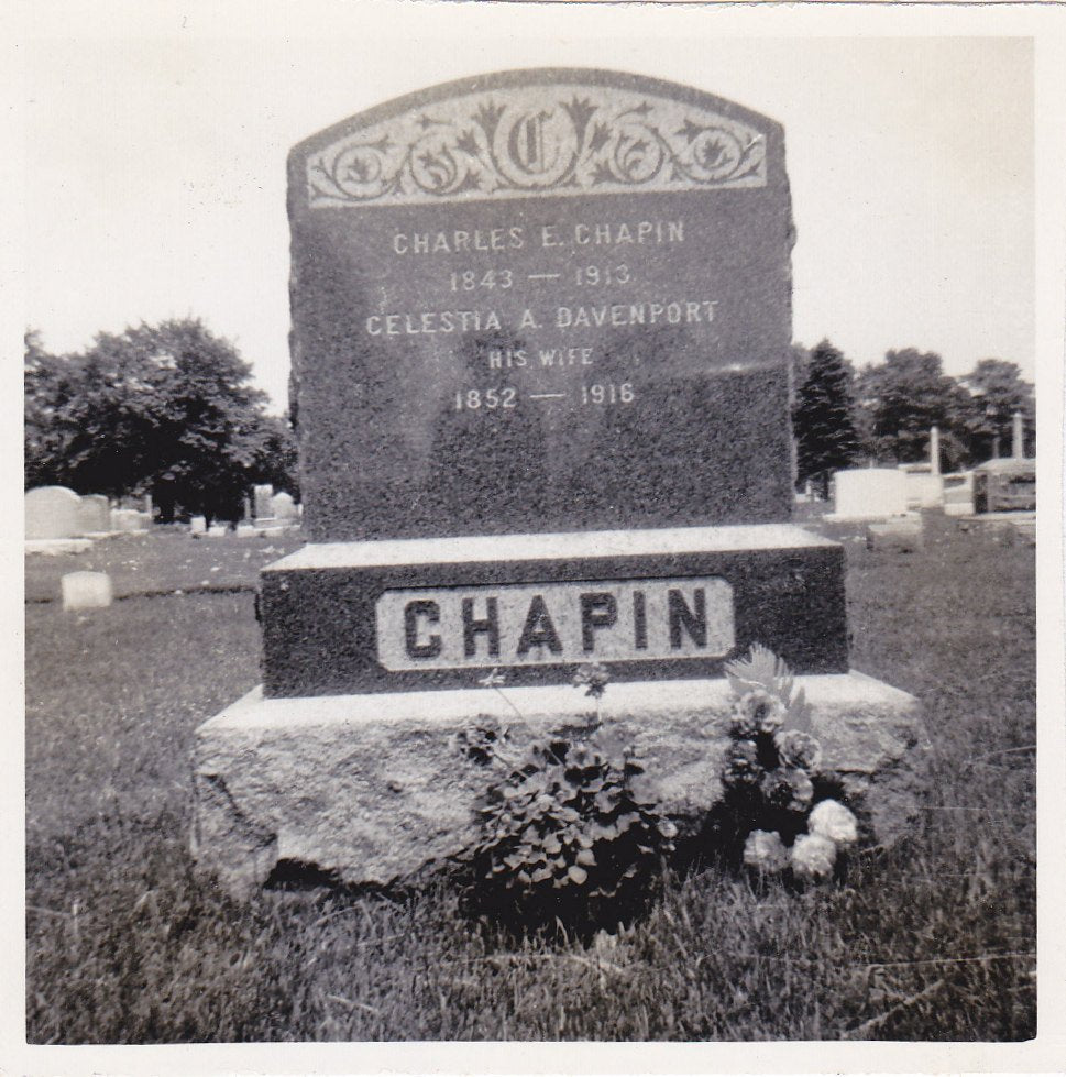 Chapin Headstone- 1910s Antique Photograph- Cemetery Snapshot- Photo- Graveyard Picture- Grave Marker- 1843-1913