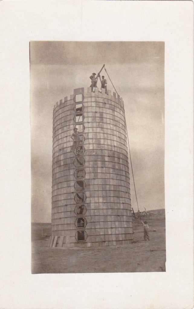 Work in Progress-1900s Antique Photograph- Real Photo Postcard- Tower Builders- Edwardian Men- Under Construction- Cyko RPPC