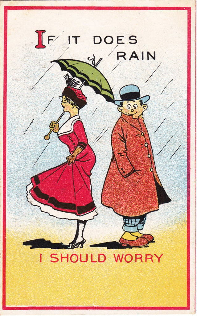 Eyeful of Ankles-1910s Antique Postcard- If It Does Rain- I Should Worry- Old Art Card- Raining- Umbrella- April Showers- Samson Brothers