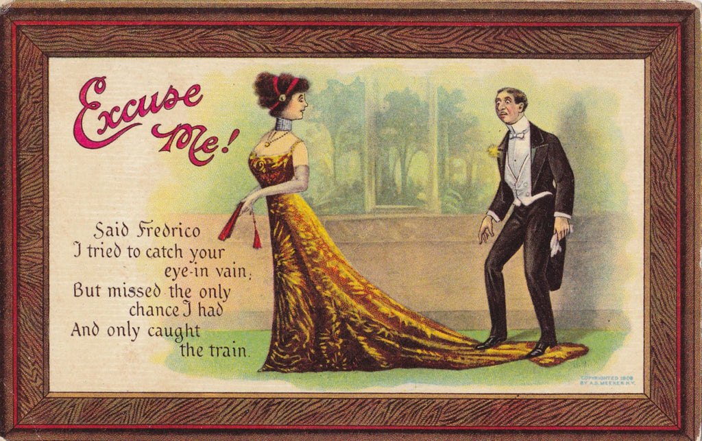 Excuse Me, Said Fredrico- 1900s Antique Postcard- Artist Signed- A S Meeker- Backwards Head- Visual Pun- Old Art Comic Card- Unused