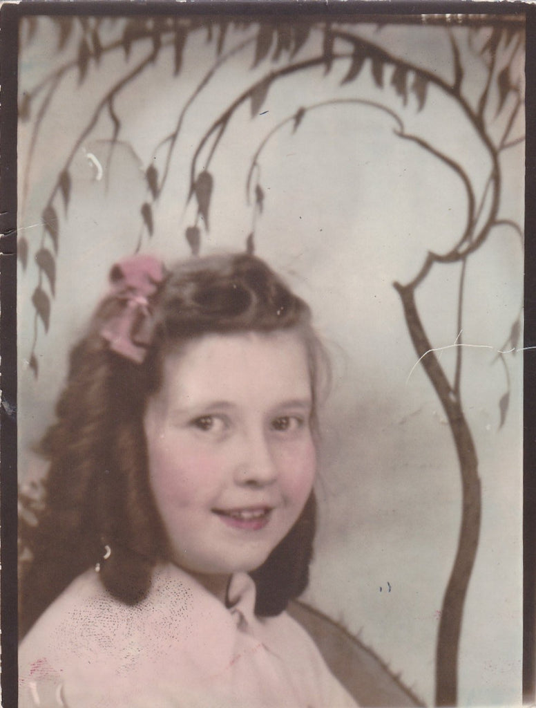 Rose-Tint My World- 1930s Vintage Photograph- Hand Tinted- Cute Little Girl- Ringlets in Hair- 30s Photo- Studio Portrait