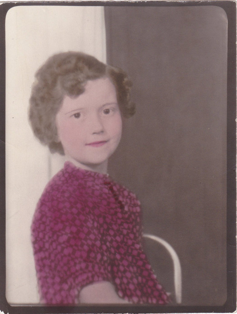 Marooned- 1930s Vintage Photograph- Hand Tinted Portrait- Little Girl