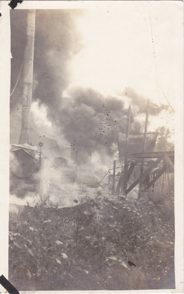 What The Blazes- 1910s Antique Photograph- Smoke and Fire- Natural Disaster- Burning Building- Real Photo Postcard- AZO RPPC