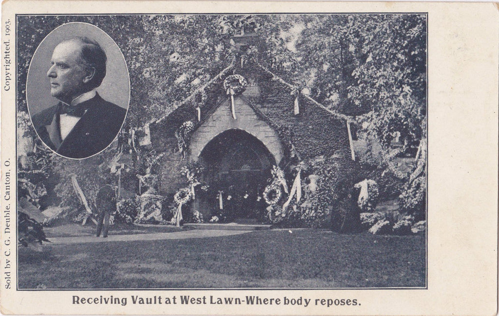 McKinley Receiving Vault- 1900s Antique Postcard- Westlawn Cemetery- Canton, Ohio- Memorial Card- Mourning President- Private Mailing Card