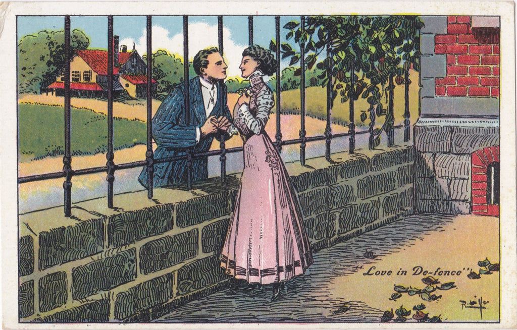 Love in De-Fence- 1910s Antique Postcard- Edwardian Romance- Artist Signed- R. Lillo- Art Comic- Unused