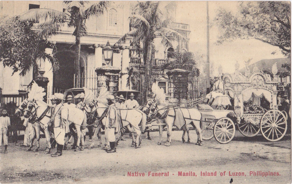 Native Funeral- 1900s Antique Postcard- Island of Luzon, Manila, Philippines- Horse-Drawn Hearse- Mourning Customs- L J Lambert