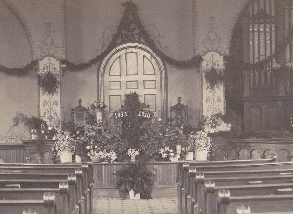 Chapel Funeral- 1910s Antique Photograph- 1835-1910 Memorial- Flower Arrangement- Church Interior- Real Photo Postcard- Cyko RPPC