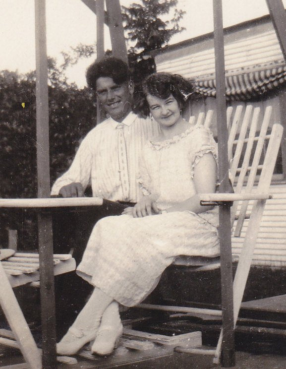 Full Swing- 1920s Antique Photograph- Couple Sitting on Porch Swing- Roaring 20s- Flapper Photo- Summer Decor- Paper Ephemera