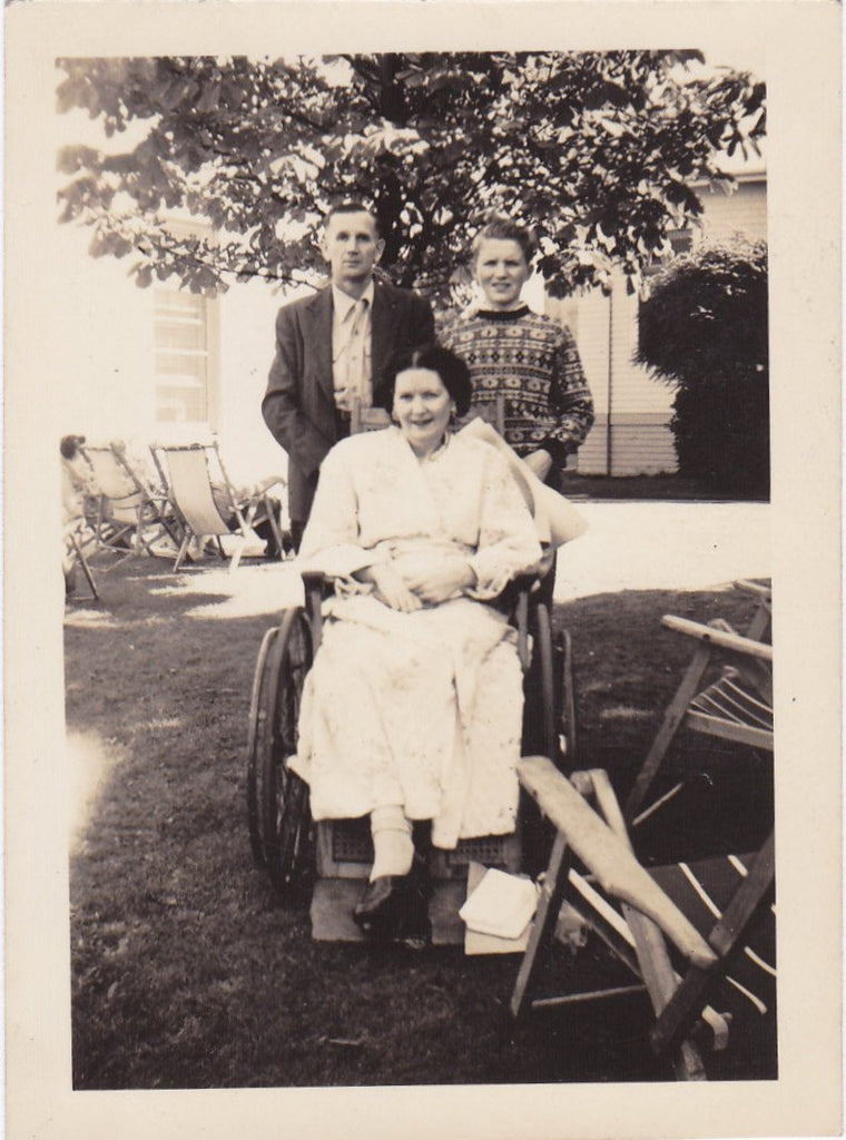 Mother's Wheelchair- 1940s Vintage Photograph- One Legged Woman- Family Snapshot- Amputee Photo