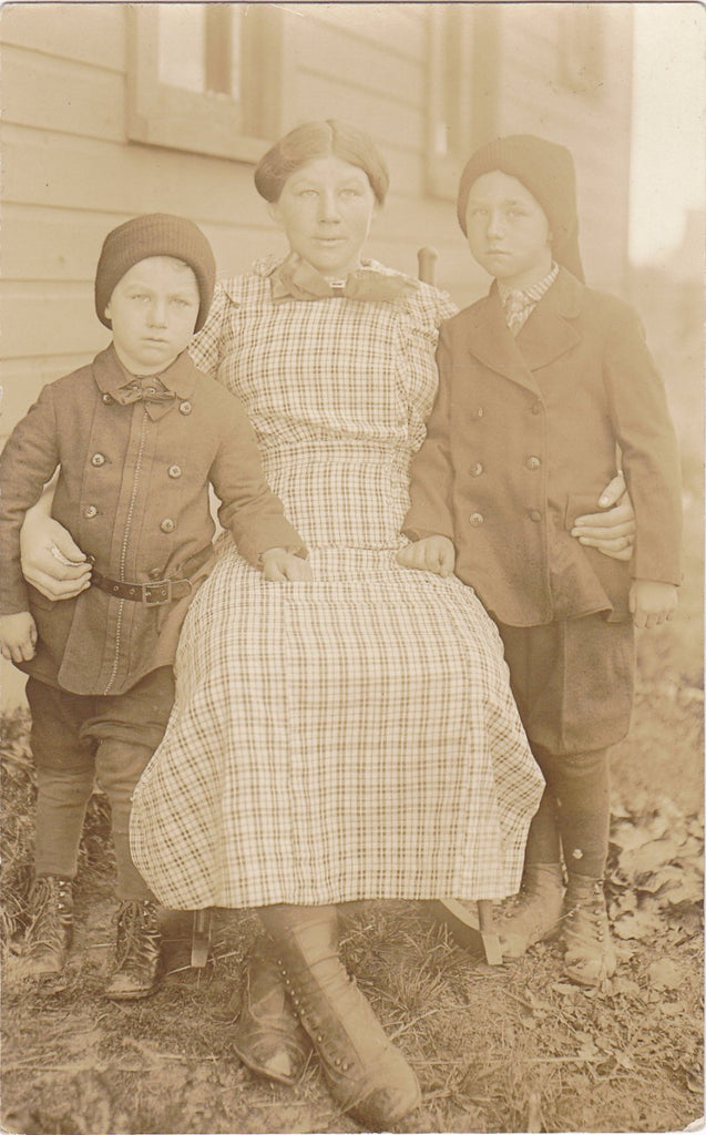 My Little Brothers- 1900s Antique Photograph- Trio of Edwardian Children- Boys in Knit Hats- Real Photo Postcard- AZO RPPC