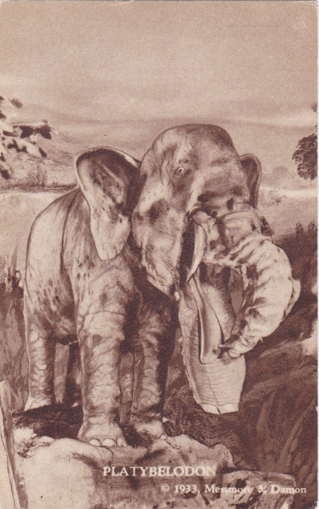 Platybelodon- 1930s Vintage Postcard- Century of Progress Exhibition, Chicago- Pliocene Period- Prehistoric- Messmore Damon- Unused