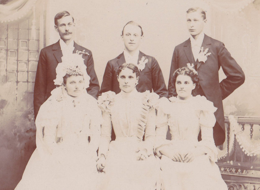 Victorian Wedding Party- 1800s Antique Photograph- Watertown, Wisconsin- Bride and Groom- Cabinet Photo- Photographer Dufresne