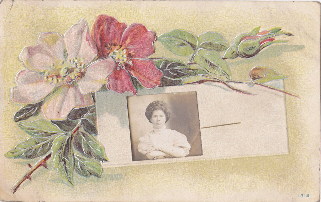 Won't Say What I Think of This Weather- 1900s Antique Postcard- Gem Photo- Edwardian Floral- Arms Crossed- Altered Postcard- Paper Ephemera