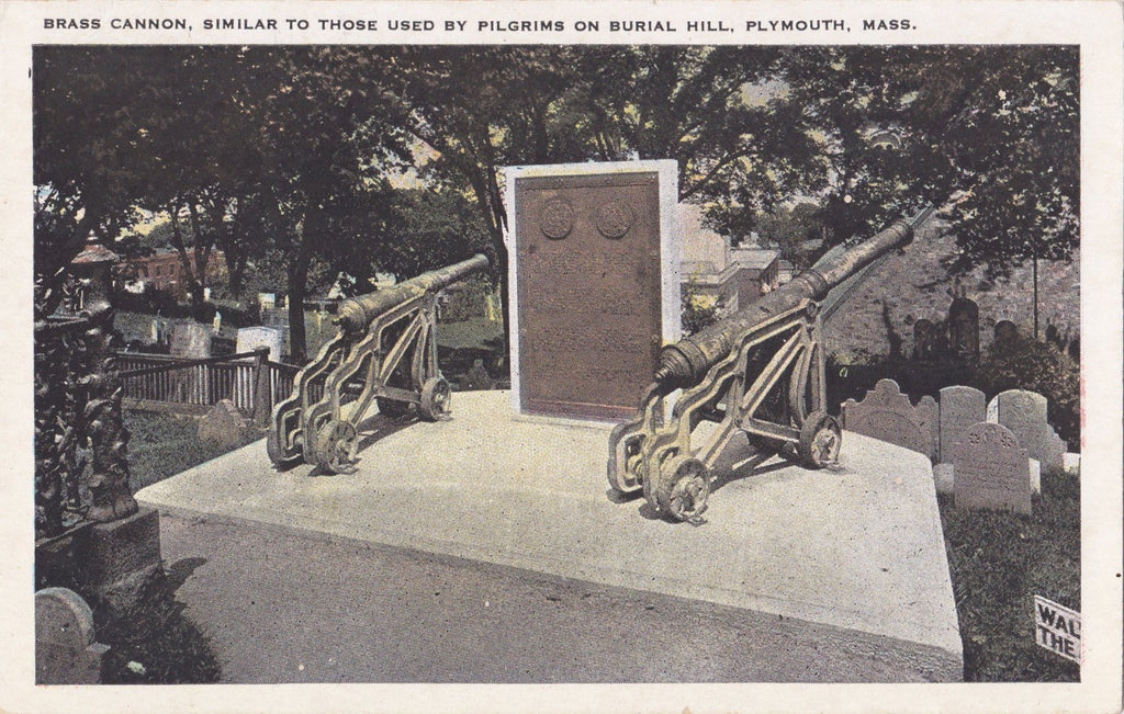 Brass Cannons on Burial Hill- 1920s Antique Postcard- Plymouth, Mass- Massachusetts Cemetery- Graveyard Monument- Tichnor Bros.