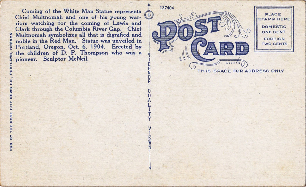 Coming of the White Man Statue- 1920s Antique Postcard- City Park- Portland, Oregon- Chief Multnomah- Souvenir View- Tichnor Quality View- Unused