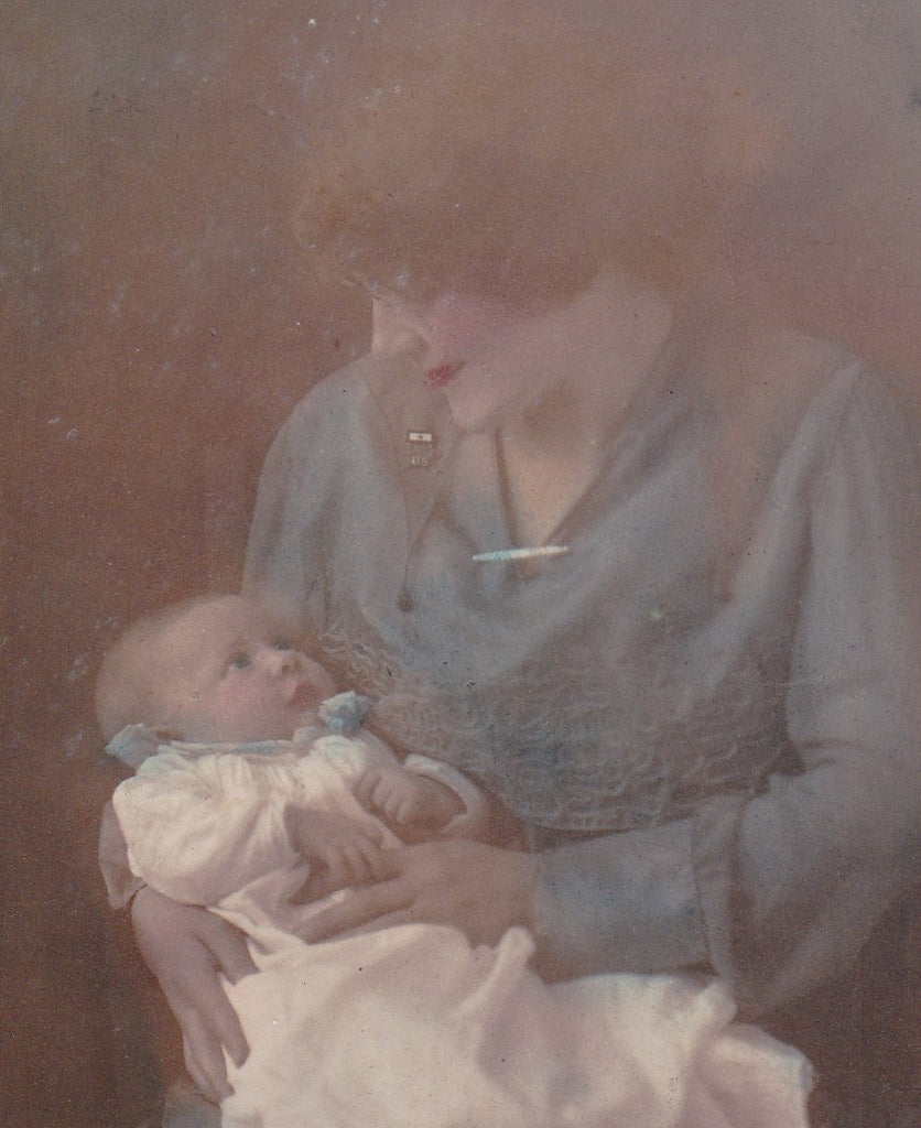 Memories in Blue- 1900s Antique Photograph- Ghostly Mother and Child- Haunting- Hand Tinted- Real Photo Postcard- AZO RPPC