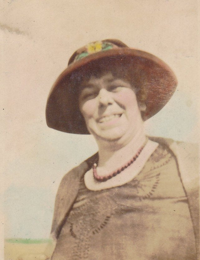 Keep On Smiling- 1920s Antique Photograph- Hand Tinted- Found Photo- Picture of Woman- Roaring 20s- Beach Snapshot