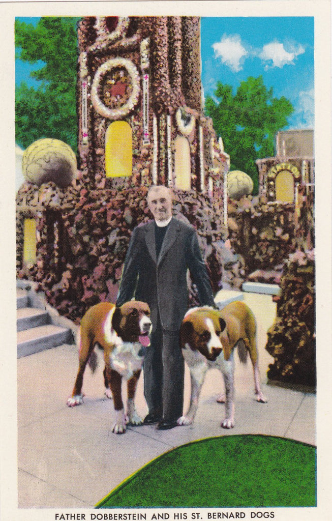 Father Dobberstein and His St. Bernard Dogs- 1950s Vintage Postcard- Grotto of Redemption- West Bend, Iowa- Chrome Postcard