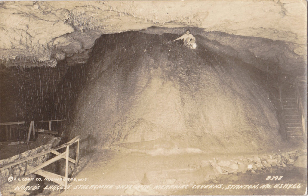 Onyx Mountain Stalagmite- 1940s Vintage Photograph- Meramec Caverns- Stanton, MO- Missouri Cave- Real Photo Postcard- DOPS RPPC- L L Cook