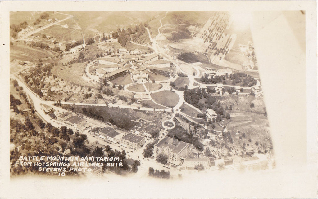 Battle Mountain Sanitarium- 1930s Vintage Photograph- View From Air Ship- Hot Springs, SD- Real Photo Postcard- AZO RPPC