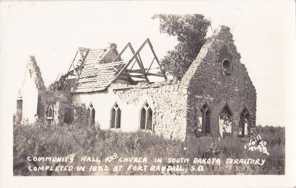 All That Remains of Fort Randall- 1940s Vintage Photograph- Church Ruins- South Dakota Territory- Real Photo Postcard- Kodak RPPC