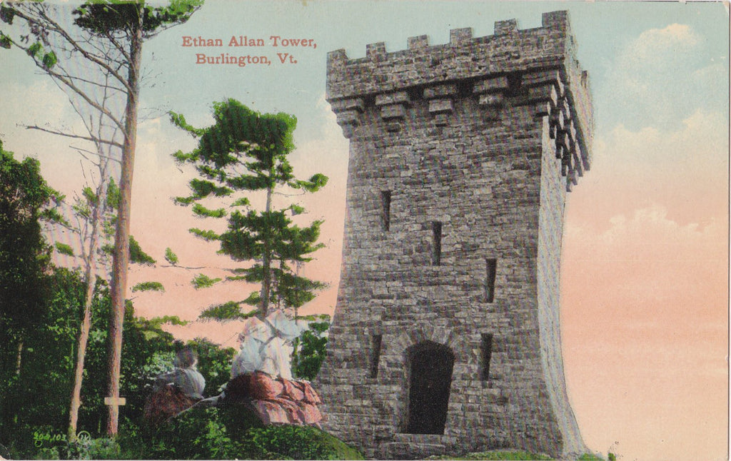 Ethan Allan Tower- 1900s Antique Postcard- Burlington, Vermont- Memorial Monument- Souvenir- Valentine & Sons- Paper Ephemera- Unused