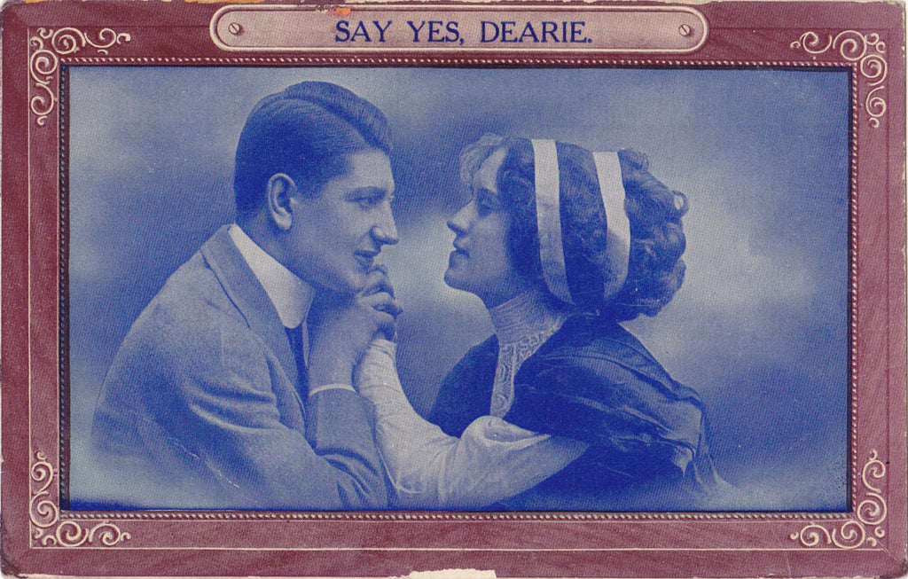 Say Yes, Dearie- 1910s Antique Postcard- Edwardian Romance- Faux Cyanotype- Art Card- Samson Brothers- Used